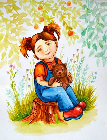 pigtails: Illustration watercolor. Little girl with red hair and pigtails is sitting on a stump in the woods with a toy bear in his hands.