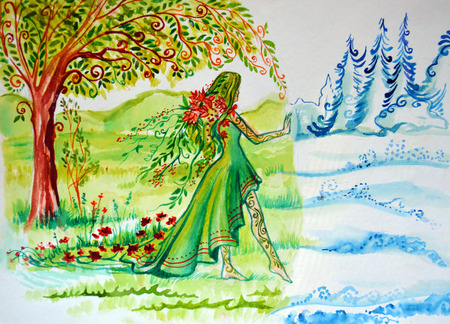 retreats: Illustration of abstraction shifts. The woman symbolizing summer comes and brings the greenery, the flowers, the sun, and winter retreats in front of her