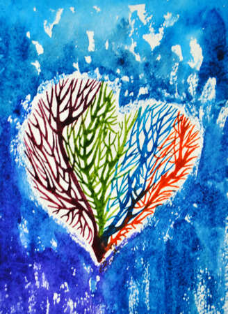 icy: Watercolor abstract illustration, silhouette heart inside which grow colorful trees, blue icy, cold background.
