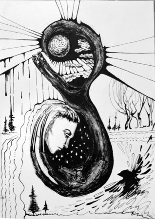 black raven: Black and white abstract illustration, woman c the wolf and the sun, near black Raven.