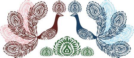 pluma de pavo real: Estilizado ornamento textura dos aves del para�so sobre fondo blanco. de El p�jaro de fuego. plumas de pavo real estilizado de color rojo y azul. Textura del vector.