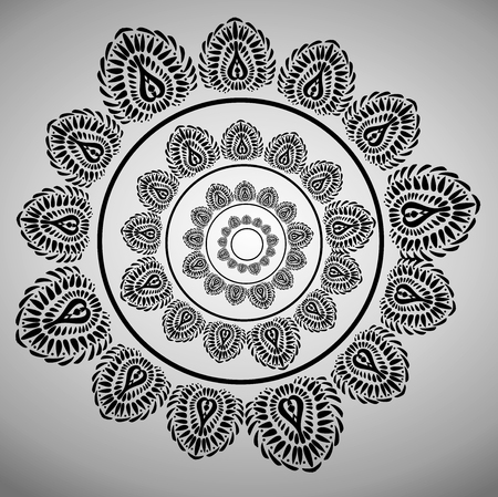 positioned: Stylized ornament texture gray on white background. Black circles pattern positioned in a circle. Vector texture. Illustration