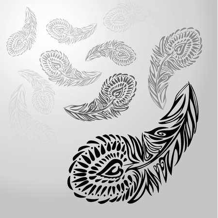 vanish: Stylized ornament texture black feathers on white-gray background, receding into distance and vanish from sight. Vector texture Illustration