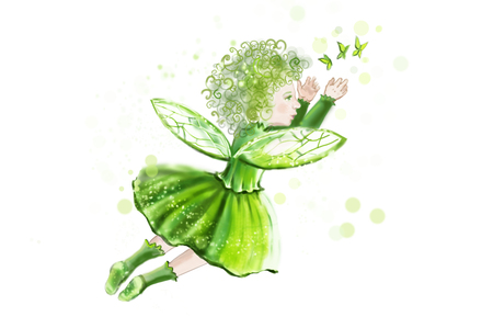 artificial wing: Little fantastic fairy on a background of hearts, in a green dress creates the magic for Valentines Day. Fabulous angel.