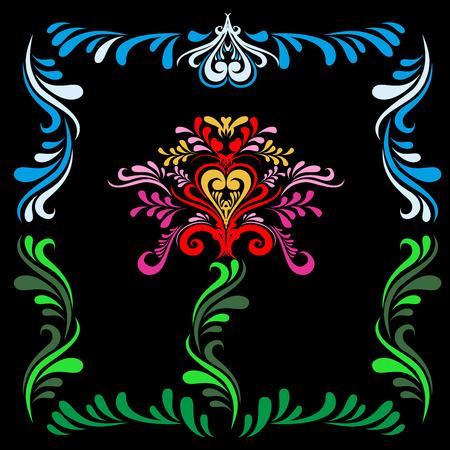 Gestileerde Slavische schilderkunst Rode bloem op een zwarte achtergrond. Slavisch ornament. Patroon voor texturen. Folk patroon. Vector textuur.