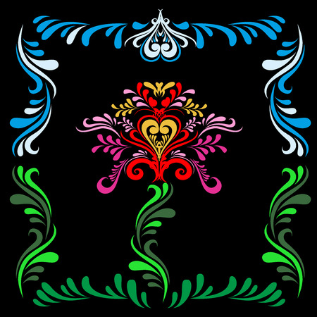 slavic: Stylized Slavic painting Red flower on a black background. Slavic ornament. Pattern for textures. Folk pattern. Vector texture.