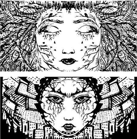black woman face: Nature with a female face, is a stylized abstraction, black and white. The city with the womans face, black and white. Vector abstraction Illustration