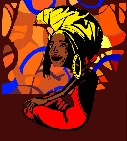 exotic woman: Stylized image of an adult African woman sitting under a tree near the river, In the sun shining through the stylized trees. Bright colors