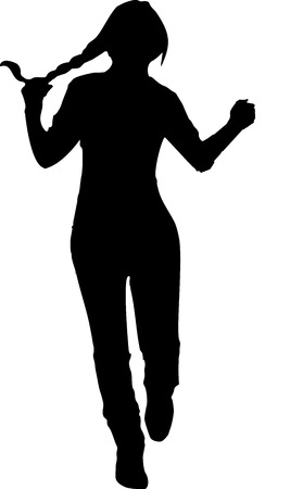 grasping: Black silhouette of a young girl in full growth, which runs forward with one hand grasping his tail, on a white background in vector format.