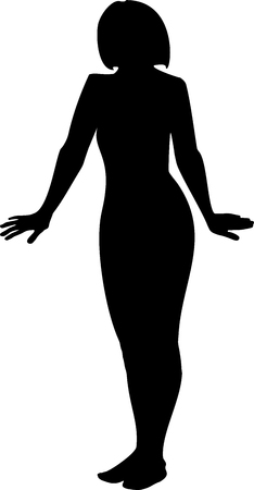 apart: Black silhouette of a young girl in full growth. A girls hands down and apart on a white background in vector format. Illustration
