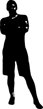 man standing alone: Black silhouette of a young man in full growth, whose hands are crossed on his chest, on a white background in vector format.