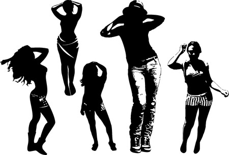 dissolved: Vector set of black silhouettes of girls in various poses of movement, dance, standing in full growth. Women in elegant poses on a white background in vector format. Illustration