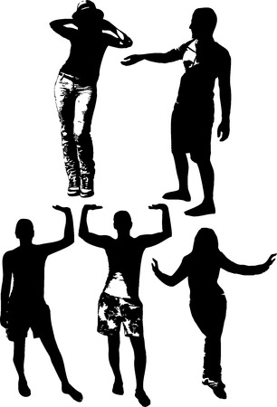 full height: Vector set of black silhouettes of girls and mans in various poses, standing at full height on a white background in vector format. Illustration