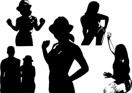 torso: Vector set of black silhouettes of a girl waist-deep in various poses. Appearance to the torso on white background in vector format. Illustration