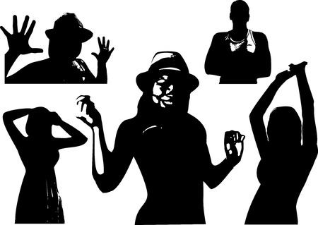 arms outstretched: Vector set of black silhouettes of a girl and men are waist-deep in various poses with arms outstretched. Appearance to the torso on white background in vector format.