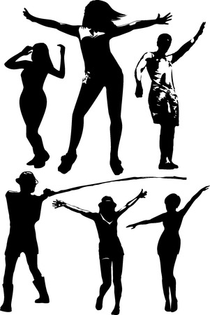 lady silhouette: Vector set of black silhouettes of a girl and a young man in various poses in motion, the dance in full growth on a white background in vector format.
