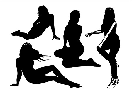seductive: Vector set of black silhouettes of girls in sitting poses full growth. Women in elegant poses on a white background in vector format. Illustration