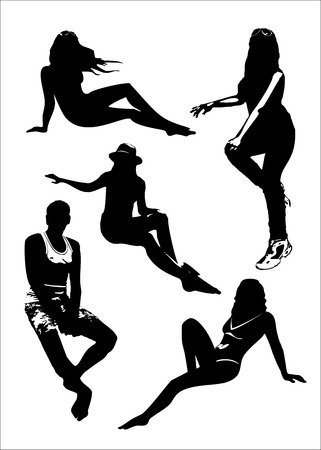 sit down: Vector set of black silhouettes of girls and man in sitting poses full growth on a white background in vector format.