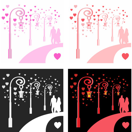sentimental: A young man and a girl strolling along a romantic street near old vintage lamps emitting light in the form of colorful hearts. Sentimental image for Valentines day in different colors, vector