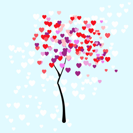 young tree: Stylised young tree on the pale blue background with leaves in the form of colorful small hearts for Valentines day in the vector Illustration