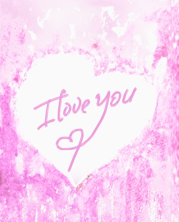 sentimental: The inscription I love you closeup on the center of the heart, tender and pink watercolor background. A sentimental Declaration of love. Watercolor Stock Photo