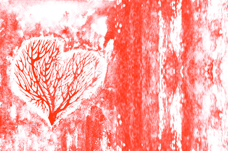 scarlet: The silhouette of a heart with the trees inside, on scarlet, Burgundy watercolor background. Stock Photo