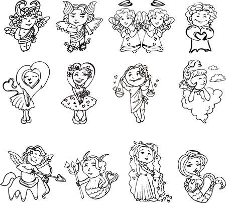 cartoon calendar: Set of Cupids with hearts on Valentines day, in black and white. Zodiac signs stylized Valentines day. Horoscope in the style of Valentines day. The signs of the zodiac with wings and hearts.Vector