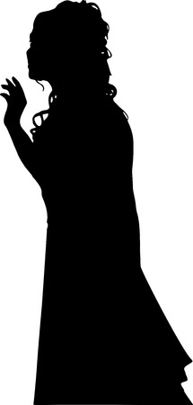 profil: Detailed black silhouette of a young girl with beautiful hair, in a wedding dress. In full growth, isolated on white background in vector. The girl at the wedding