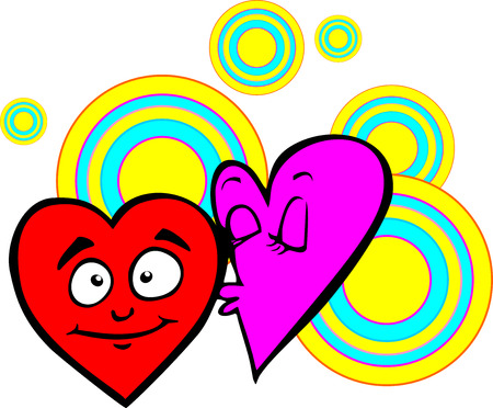 tender: Valentine heart on a background of colored circles. Postcard for Valentines day. Tender love. Illustration