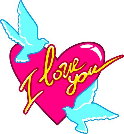 parejas romanticas: Valentine, dos turquesa paloma de la paz alrededor de un coraz�n rojo con la inscripci�n te amo. Postal para el d�a de San Valent�n. Amor tierno. En el vector