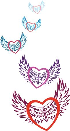 Valentine. Multicolored hearts symbolizing love, fly on the patterned wings of love on the day of Saint Valentine. Card for Valentines day in the vector