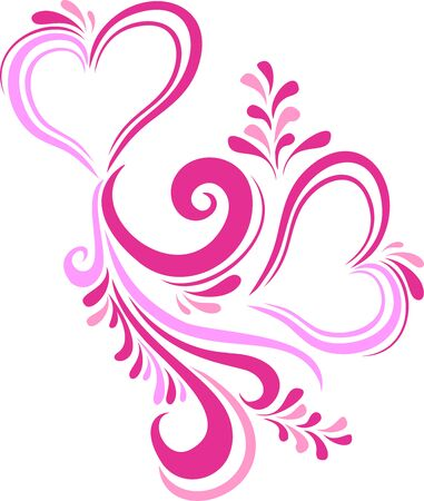 inscribed: Stylized pink heart Valentines day inscribed in the ornate pattern. Card on Valentines day in the vector. Illustration
