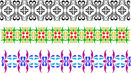 Three different types of ornament, black and white, green yellow and violet blue. Flowery patterns in the vector