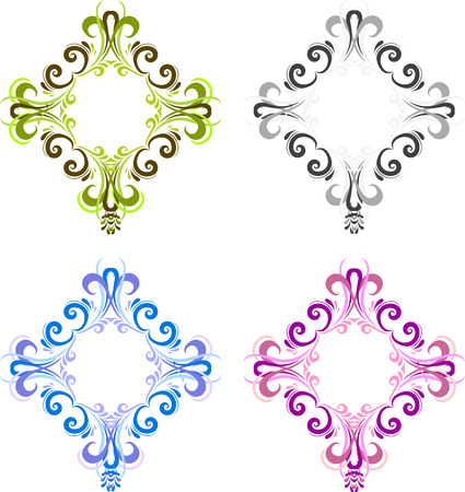diamond shaped: Four diamond shaped vintage frame for photos with a square in the center. Black, blue, green and pink. Ornate square frames for photo in vector