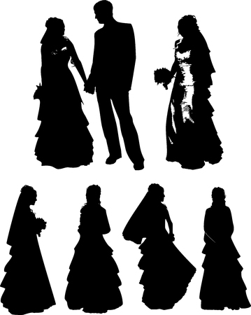 dissolved: Vector set of black silhouettes of a young girl and man with beautiful hairstyle, wedding dress and with a bouquet of flowers, on a belt, on a white background in a vector. The girl at the wedding Illustration