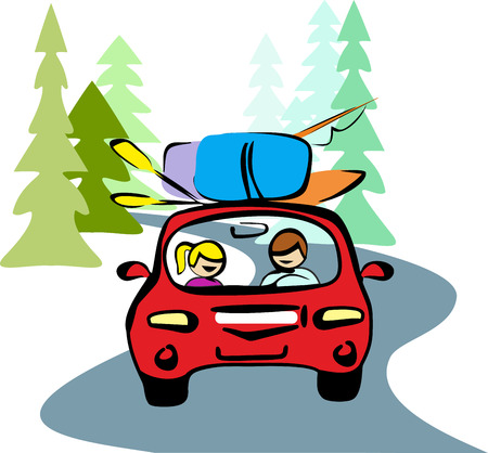 forest road: A man and a woman in red car driving on a forest road to rest. Taking your backpacks, boat, oars, fishing rod. Travel on vacation in the vector