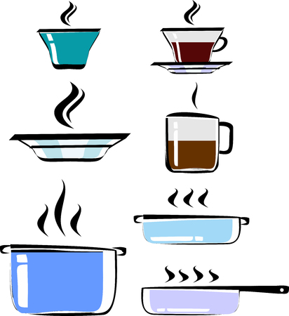 cookware: Set of hand drawn cookware, color, vector. Cups of tea and coffee, plate, pots, frying pan. Cookware