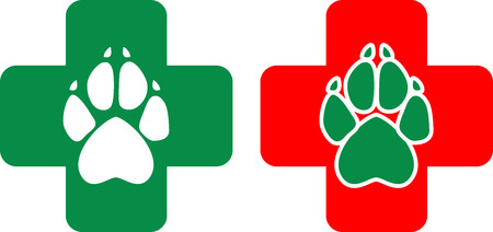 canine: Logo for veterinary clinic in the vector. White and green animal paws print on a red and green cross