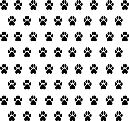 animal paw prints: Vector texture from black animal paw prints. Texture prints dog, cat.