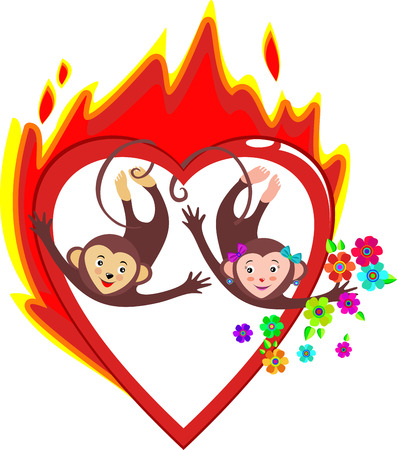 creatively: Bright red burning heart love Valentines day. The two cute monkeys, symbols of the new year, with flowers. In the vector. Card on Valentines day