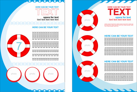 predominance: Simple vector booklet with buoys, with predominance of blue color. Sea theme