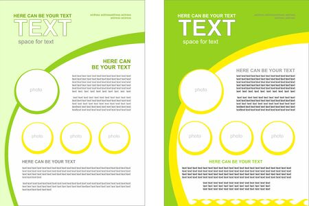 predominance: Set of vector brochure with the spring theme, with a predominance of green and light green colors. Spring, summer theme