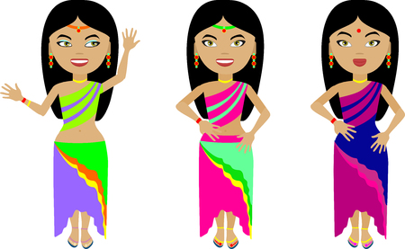 girl in red dress: A set of three Indian girls in colorful clothes. With different emotions on his face