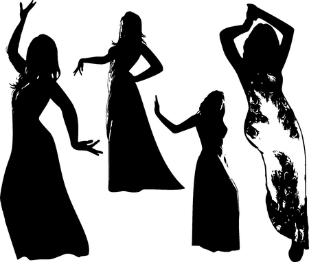 fashionable: Vector set of black silhouettes of girls in dress, in dance, in movement. Women in elegant poses on white background in vector format