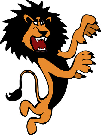 harsh: Harsh and angry hand-drawn brown lion in full height standing on its hind legs in the vector