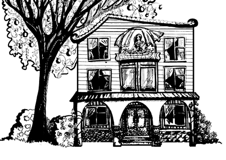 bald cartoon: Dream house. Black and white illustration of house with tree and woman in the attic