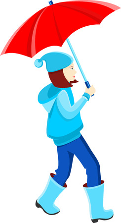 rain cartoon: Girl in a blue jacket under a red umbrella, vector