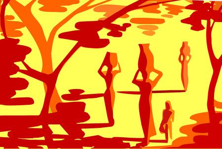 79893ade1  53072313 - La abstracción del paisaje de África tonos rojos y amarillos