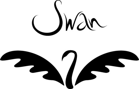 black swan: Vector minimalistic swan logo. Beautiful black swan tattoo Illustration