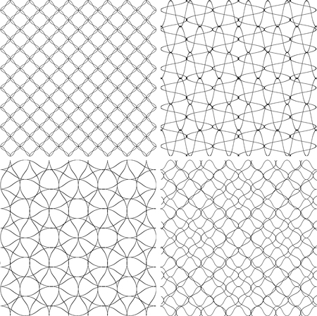 colection: Set of geometric backgrounds drawn lines. Texture for print, black and white, vector Illustration